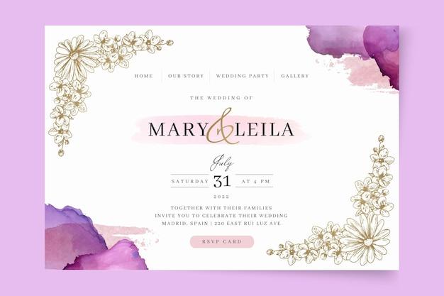 Modello di pagina di destinazione del matrimonio floreale