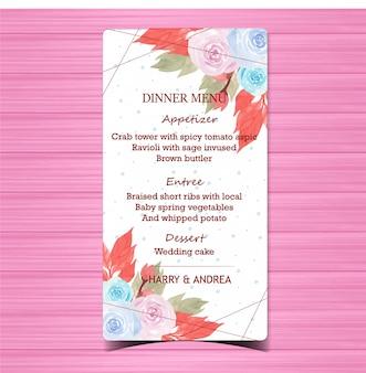 Scheda del menu di nozze floreale con belle rose blu e rosa