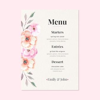 Concetto di menu matrimonio floreale