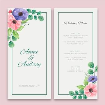 Menu di nozze floreale