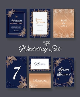 Modelli di set di nozze floreali per la stampa con area per il testo indaco con design in rilievo dorato