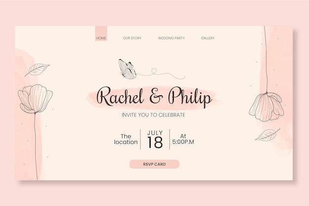 Modello web matrimonio floreale