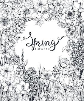 Floreale con fiori e piante primaverili disegnati a mano e scritte a mano. monocromo