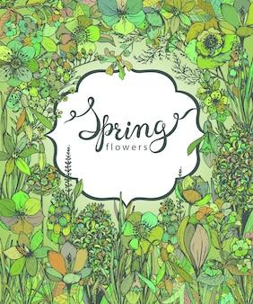 Floreale con fiori e piante primaverili disegnati a mano e scritte a mano.