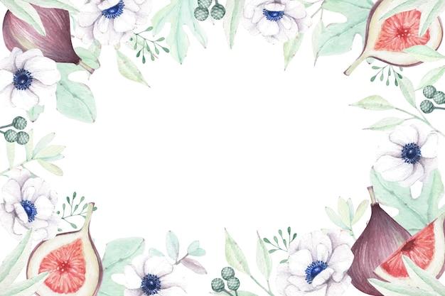 Floreale con fichi dolci e fiori di anemone