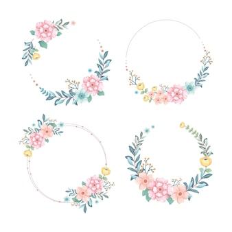 Collezione di ghirlande floreali con illustrazione di fiori e foglie dell'acquerello