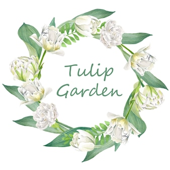 Ghirlanda floreale composta da tulipani e foglie