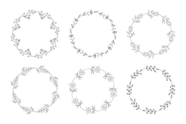 Ghirlanda floreale. set di cornici floreali disegnati a mano