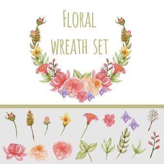 Pittura dell'acquerello imposta corona floreale
