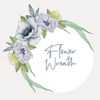 Partecipazione di nozze dell'acquerello della corona floreale
