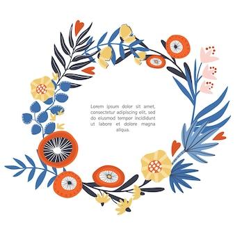 Ghirlanda floreale con fiori disegnati a mano