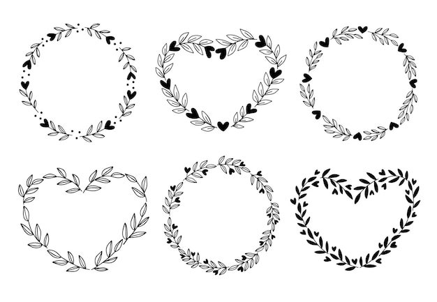 Corona floreale con foglie e set di cuore. modello di san valentino.