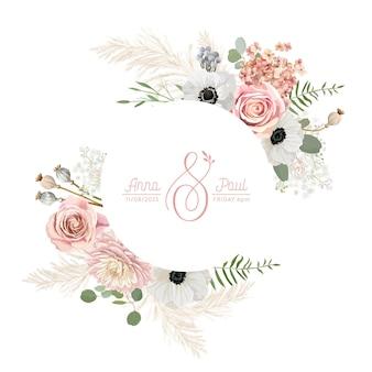 Corona floreale con fiori pastelli secchi ad acquerello, erba di pampa. anemone dell'annata di estate di vettore, illustrazione della bandiera del fiore di rosa. invito a nozze moderno primaverile, biglietto di auguri alla moda, design di lusso