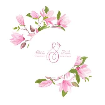 Corona floreale con fiori pastello di magnolia ad acquerello, foglie, fiori. illustrazione della bandiera del fiore di estate di vettore. invito a nozze moderno, biglietto di auguri alla moda, design di lusso