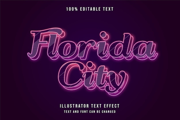Florida city, 3d modificabile effetto testo rosso gradazione blu neon strati effetto stile