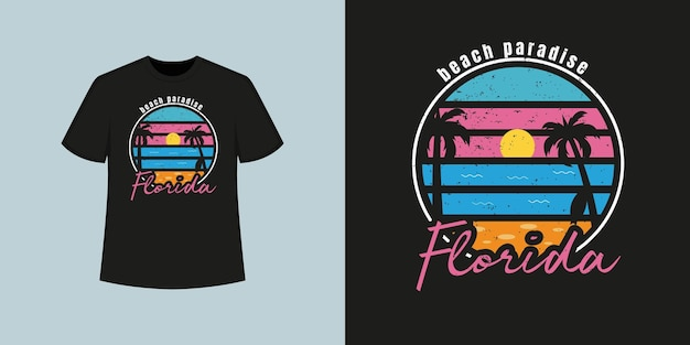 Stile della maglietta della spiaggia dell'oceano della florida e design di abbigliamento alla moda con sagome di alberi, tipografia, stampa, illustrazione vettoriale.