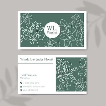 Modello di biglietto da visita fiorista con disegno floreale