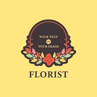 Icona di logo di alloro corona cornice fiore floreale fiorista nel modello illustrazione stile colorato