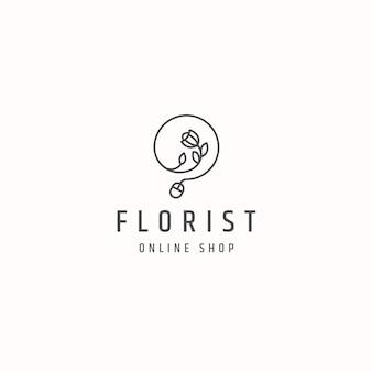 Modello di logo del negozio online di fiorista