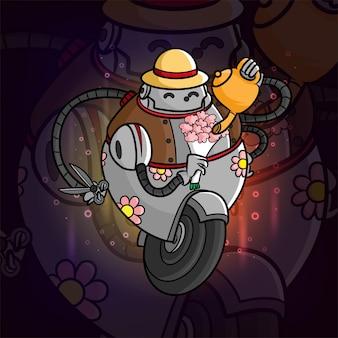 Il robot fiorista tiene un secchio di fiori esport logo design di illustrazione