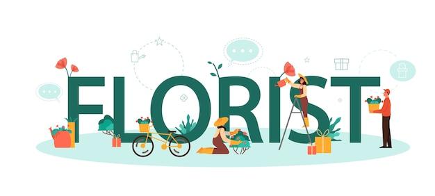 Fiorista concetto tipografico. occupazione creativa in boutique floreale. fiorista dell'evento er. consegna fiori e giardinaggio. attività floristica.