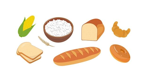 Set di illustrazioni di prodotti di farina