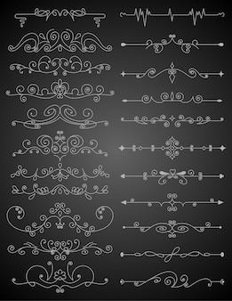 Insieme di elementi di design calligrafico fiorito. simboli di decorazione della pagina per abbellire il tuo layout. delineare gli elementi del bordo.