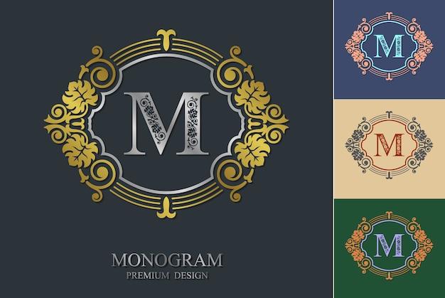 Cornice ornamentale di elementi di design monogramma fiorito.