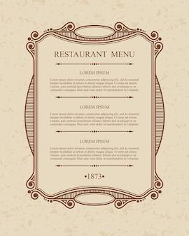 Fiorisce elementi calligrafici di design del ristorante del menu, modello grazioso tipografico.