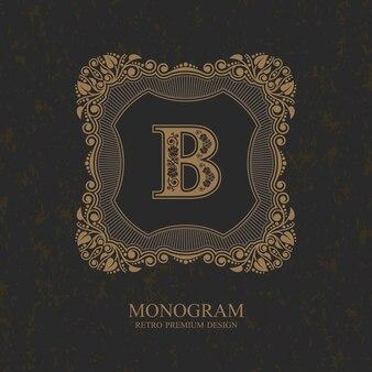Fiorisce il modello emblema monogramma calligrafico. lusso elegante cornice ornamento linea logo design.