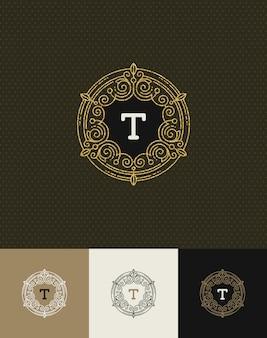 - fiorisce il logo monogramma oro glitterato. identity design per bar, negozio, negozio, ristorante, boutique, hotel, araldico, moda e così via.