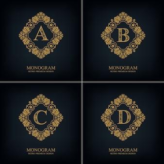 Fiorisce il modello abcd dell'emblema della lettera, elementi di design del monogramma, modello grazioso calligrafico.