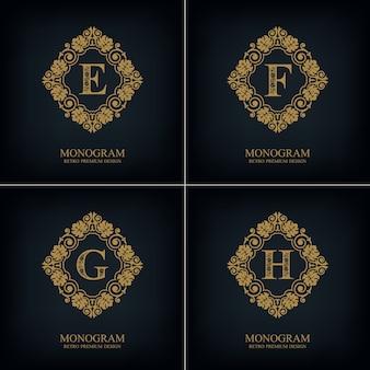 Fiorisce il modello efgh dell'emblema della lettera, elementi di design del monogramma, modello grazioso calligrafico.