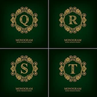 Fiorisce il modello qrst dell'emblema della lettera, elementi di design del monogramma, modello grazioso calligrafico.
