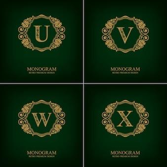 Fiorisce il modello uvwx dell'emblema della lettera, elementi di design del monogramma, modello grazioso calligrafico.