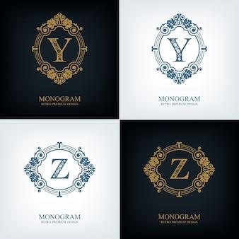 Fiorisce il modello yz dell'emblema della lettera, elementi di design del monogramma, modello grazioso calligrafico.
