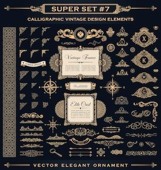Fiorisce loghi vintage e ornamenti per la decorazione della pagina per cornici di design