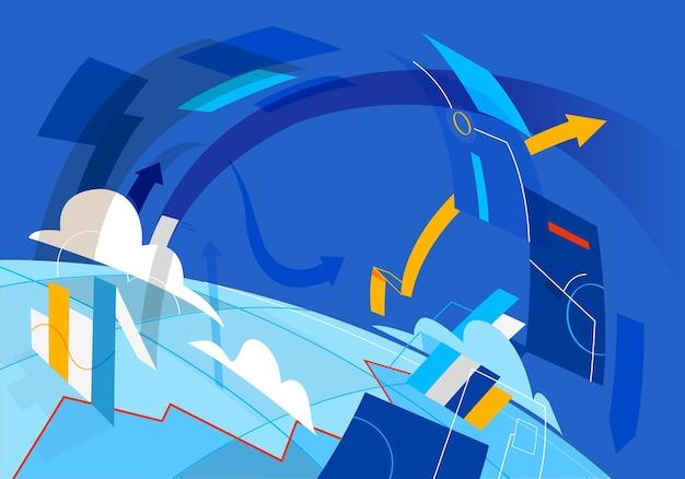 Flusso di dati e risorse digitali in tutto il pianeta