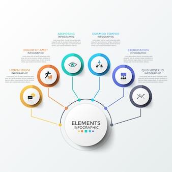 Diagramma di flusso con 6 cerchi di carta bianca con simboli piatti all'interno collegati all'elemento rotondo centrale da linee colorate. modello di progettazione infografica moderna. illustrazione vettoriale per presentazione aziendale.