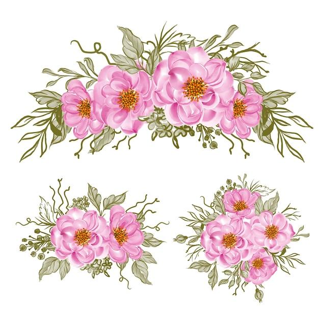 Composizione floreale e bouquet di rosa baby
