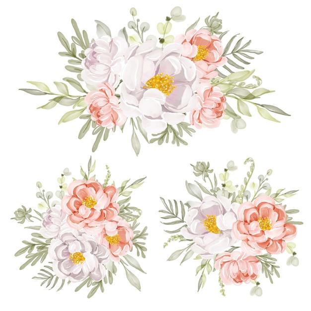 Composizione floreale e bouquet di peonie floreali
