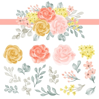 Composizione floreale con rosa e foglie clipart isolate