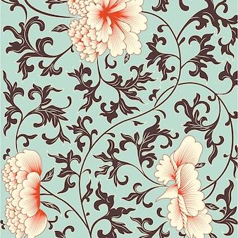 Priorità bassa del fiore in stile cinese. Vettore Premium