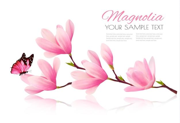 Sfondo di fiori con ramo di fiori di magnolia rosa e farfalla.