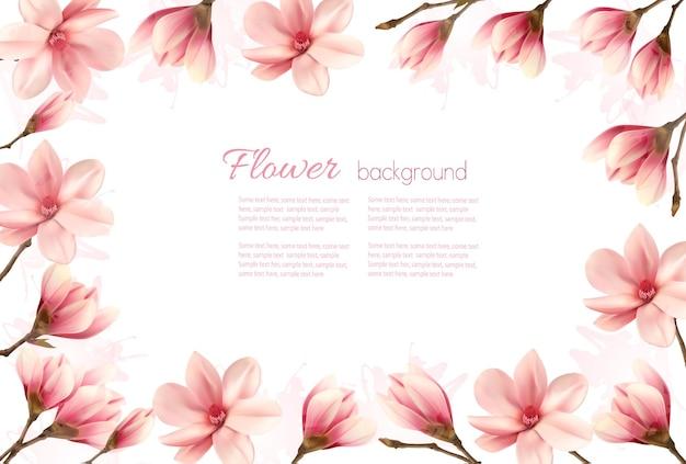 Sfondo floreale con un bordo di fiori di magnolia rosa.