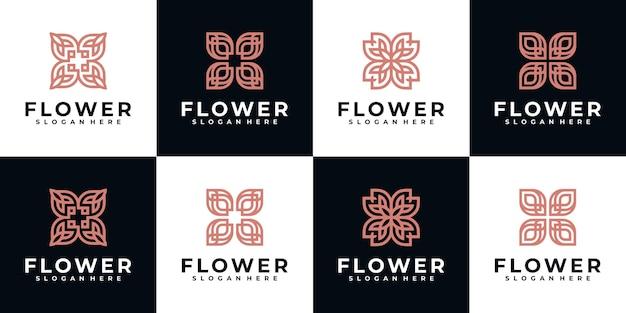 Ispirazione per il design del logo di bellezza floreale per la cura della pelle del salone spa e la bellezza del prodotto