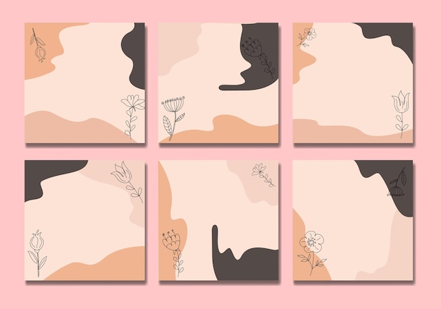 I social media di flower boho pubblicano un disegno a tratteggio Vettore Premium