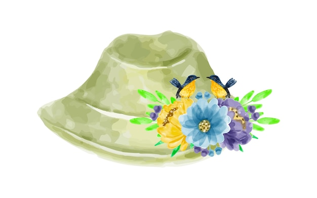 Bouquet di fiori e cappello con acquerello