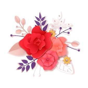 Mazzo di fiori di rose in stile artigianale di carta, taglio di carta e stile artigianale. illustrazione vettoriale tutti gli oggetti sono isolati