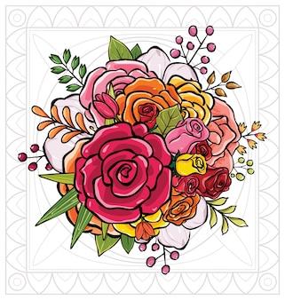 Illustrazione vettoriale bouquet di fiori